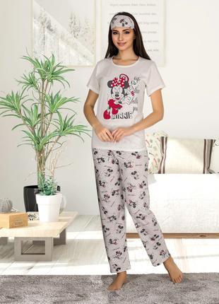 Жіноча літня котонова піжама з пов'язкою Woman Homewear Код:80122