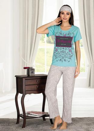 Жіноча літня котонова піжама з пов'язкою Miss Carella Код: 80128