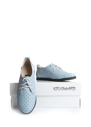 Кожаные женские голубые туфли мокасины на шнурках с перфорацие...