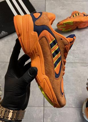 👟кроссовки мужские текстиль белые adidas yung 1 orange 👟