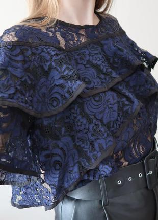 Кружевной синий топ / блуза з плотного кружева з воланами next