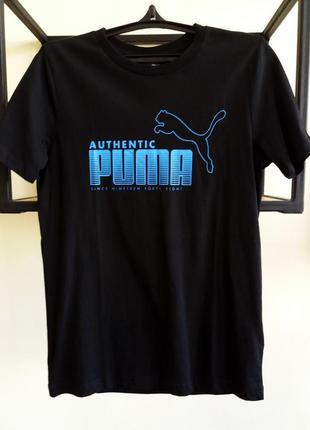 Оригинальна мужская футболка puma черного цвета с синим принтом