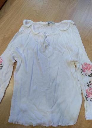 Вышиванка, шикарная вышиванка, блуза оверсайз с вышитыми рукав...