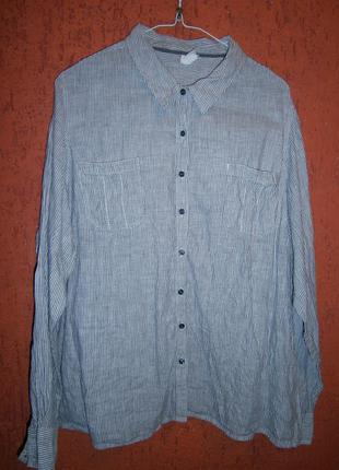 Льняная рубашка в полоску . с недостатком.  длинный рукав  с р...