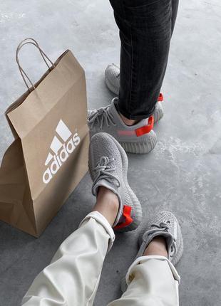 Adidas yeezy boost 350 grey серые ⭕ женские кроссовки ⭕ наложе...