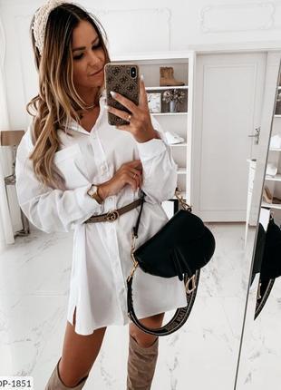Белое платье рубашка (коттон)