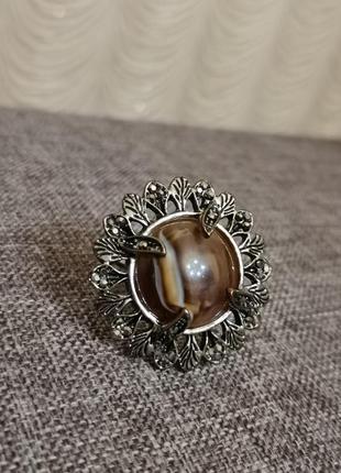 Кольцо перстень филигрань с коричневым крупным камнем