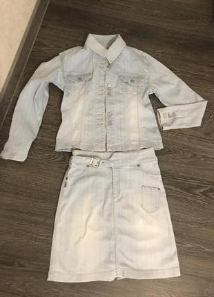 Джинсовый костюм юбка+пиджак