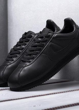 Nike cortez classic leather black чёрные ⭕ мужские кроссовки ⭕...