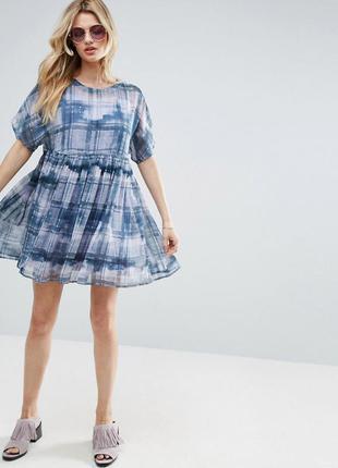 Свободное платье в клетку oh my love для asos, р-р 8