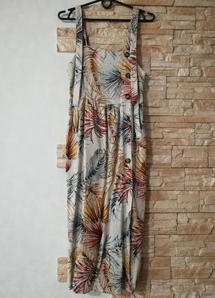 Трендовое платье сарафан из вискозы с боковыми пуговками