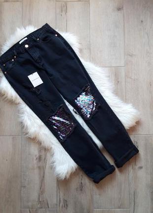 Мом джинсы с пайетками glamorous,  размер 14