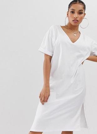 Платье футболка с v образным вырезом boohoo,  размер 6