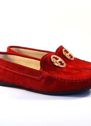 Мокасины замшевые красные женская обувь больших размеров ornel...
