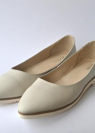 Женская обувь больших размеров балетки кожаные gracia beige by...