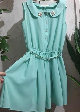 Летнее бирюзовое платье