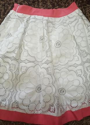 Летняя белая кружевная юбка