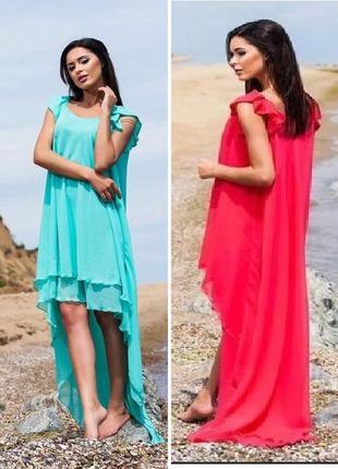 Коралловое  шифоновое платье свободного кроя