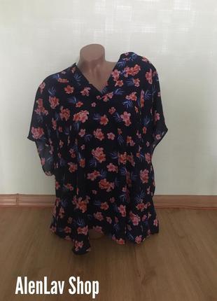 Новая легкая блуза футболка с v образным вырезом батал capsule