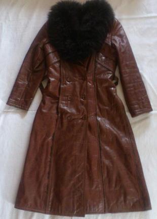 Пальто кожаное (ручной крой)