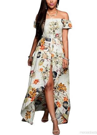 Платье - ромпер в нежный принт с оголенными плечами и высоким ...
