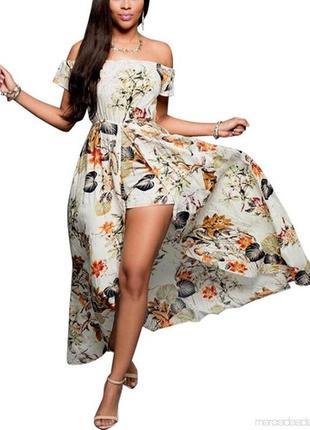 Платье - шорты с оголенными плечами в цветочный принт l  на 48...