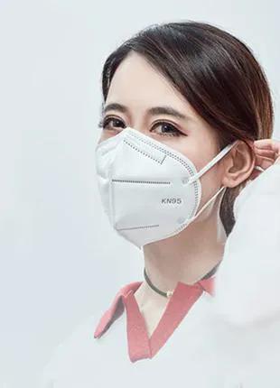 Защитная маска респиратор KN95 класс FFP2 с угольным фильтром.