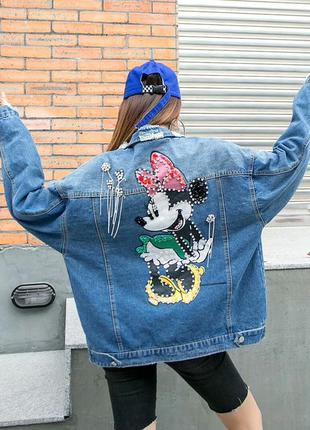 Женская джинсовая куртка mini mouse с украшениями и пайетками ...