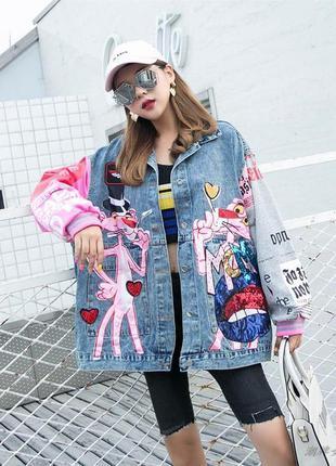 Женская джинсовая куртка pink panther с надписями и пайетками ...