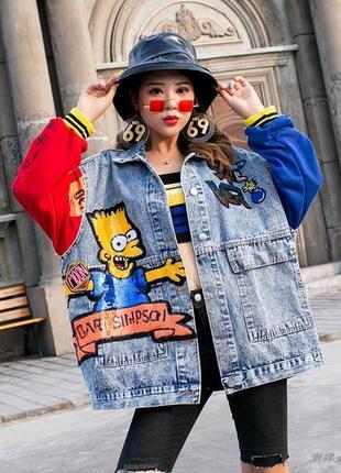 Женская джинсовая куртка bart simpson с надписями и пайетками ...