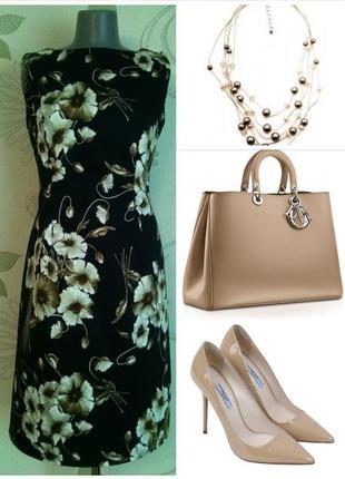 Платье-футляр маки разноцветное летнее темное в цветочный прин...