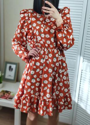 Платье коричневое в цветочный принт р-р 48, подойдёт на м-s
