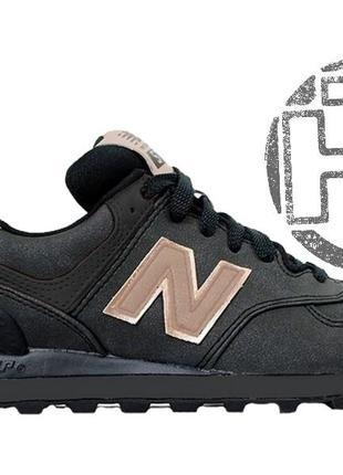 Стильные кроссовки new balance 574 black/gold wl574chd