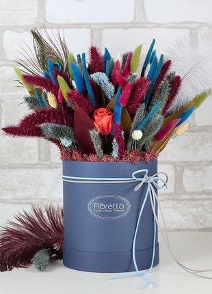 """Букет """"Восточная сказка"""" - сухоцветы в шляпной коробке"""