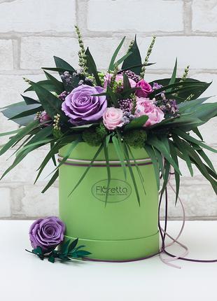 Букет долгостоящих роз -стабилизированные цветы в шляпной коробке