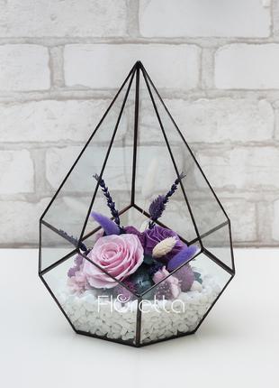 Флорариум «Аметист» с живыми стабилизированными цветами