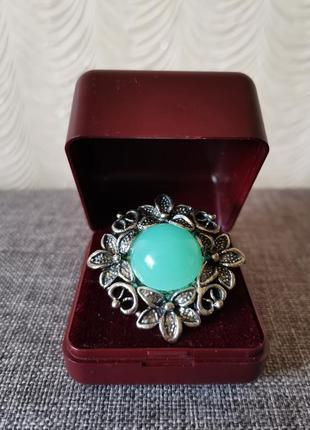 Кольцо перстень филигрань винтаж с бирюзовым камнем