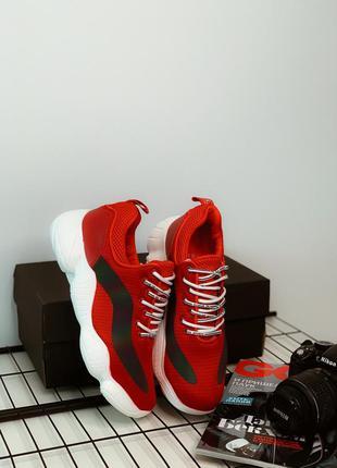Красные мужские кроссовки с белой подошвой south tsunami