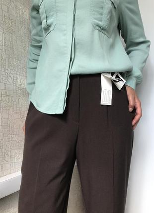 Лаконичные коричневые прямые брюки/штаны на высокой посадке