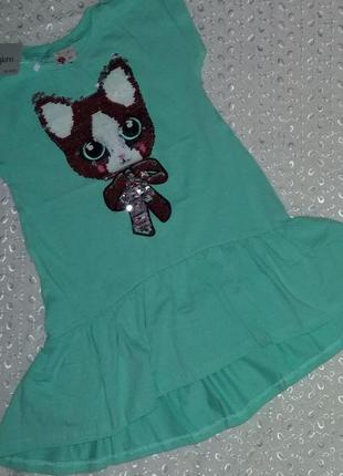 Платье на девочку с паетками 98р 122р