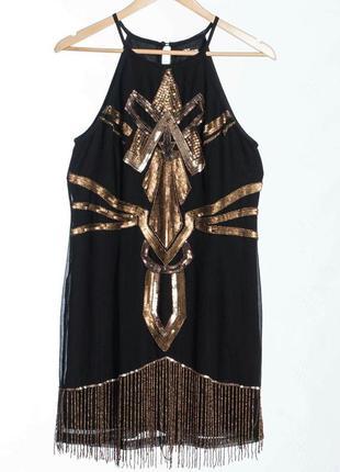 Винтажное платье с вышивкой из бисера, паеток и бусин.