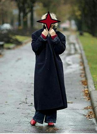 Пальто темно-синее кашемировое
