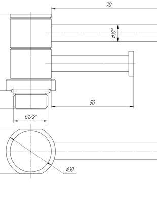 Полка поворотная L70/50 для полотенцесушителя