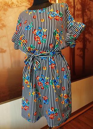 Платье-туника в полоску с яркими цветами