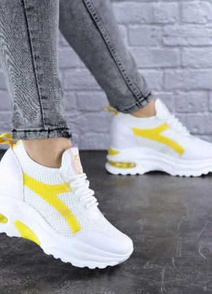 Модные женские кроссовки, белые с желтым, весна, лето, осень