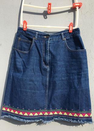 Юбка джинсовая topshop деним синяя плотная с вышивкой