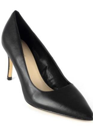 Чёрные лодочки туфли на шпильке каблуке натуральная кожа новые...
