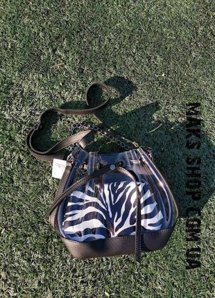 Женская силиконовая сумка с косметикой под зебру из эко кожи