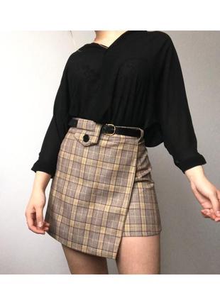 Мини юбка - шорты в клетку с поясом