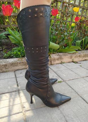 Кожаные сапоги демисезонные (весна-осень) на высоком каблуке